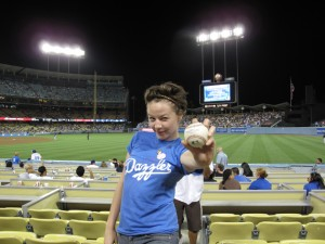 Baseball hit by Matt Kemp right before he hit a homerun!